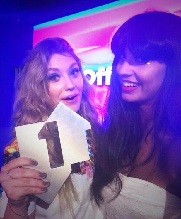 Ella Henderson finds out she's achieved a number one hit with 'Ghost' - here posing with radio presenter Jameela Jamil (15 June).