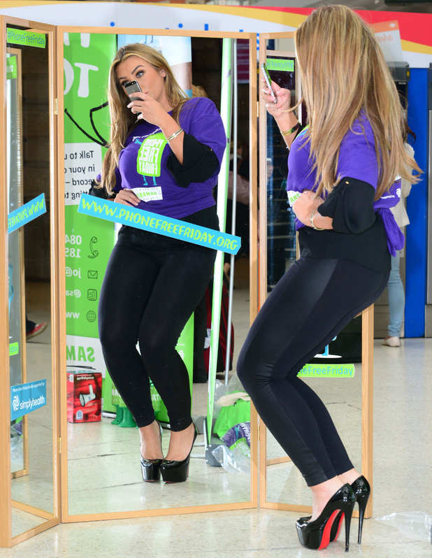 Lauren Goodger launches 'Phone free friday' for the Samaritans at Waterloo station, London, Britain - 16 Jun 2014