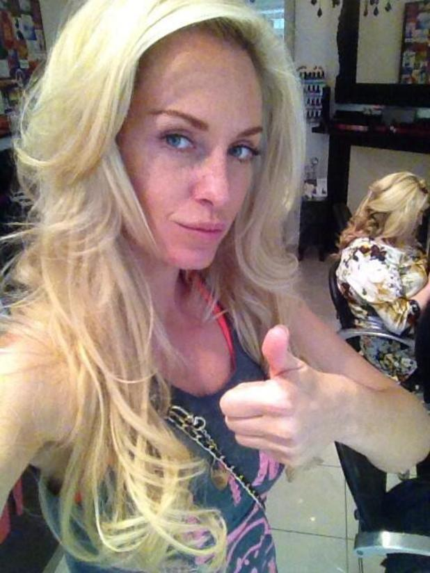Josie Gibson gets a blowdry at The Soho Salon in London. 17/6/2014.