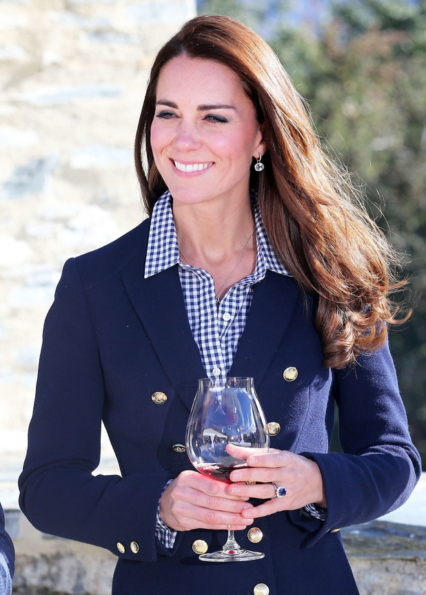 The Duchess of Cambridge enjoys a glass of red wine in New Zealand, 13th April 2014