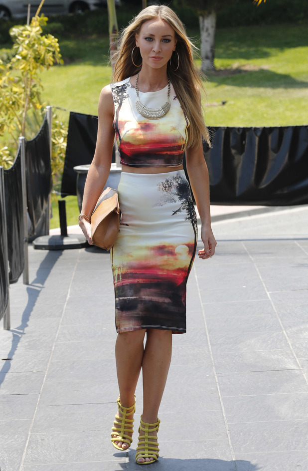 TOWIE's Lauren Pope wears sunset print co-ords while out in Marbella, Spain - 15 June 2014