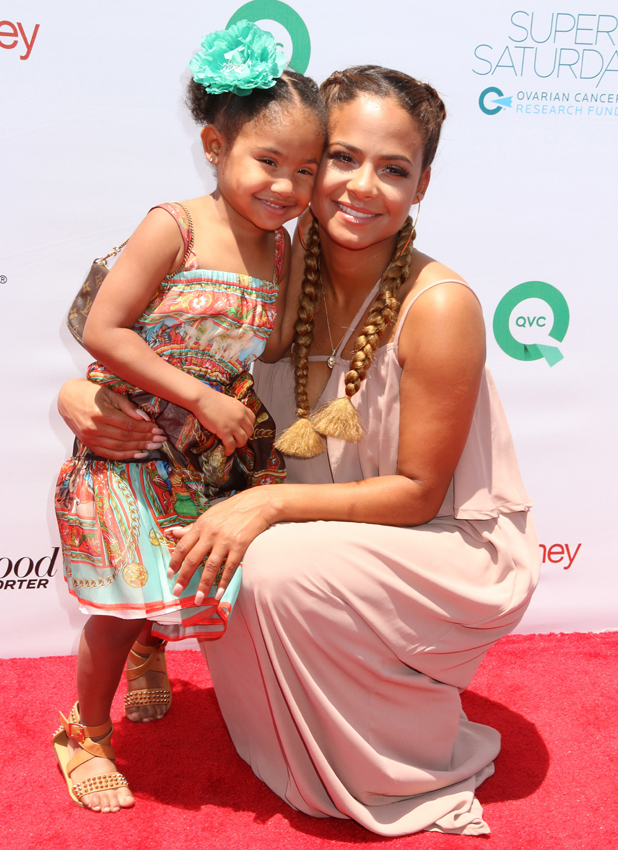 Christina Milian and daughter Violet at the Rachel Zoe And Molly Sims Host Ovarian Cancer Research Fund's Inaugural Super Saturday LA, May 2014