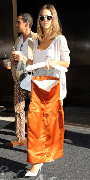 Jessica Alba outside SoHo hotel before New York Women in Film and Television on 18 June 2014