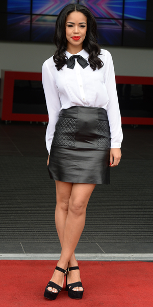 Sarah-Jane Crawford on her first day as new Xtra Factor host at X Factor auditions in Manchester, 16 June 2014