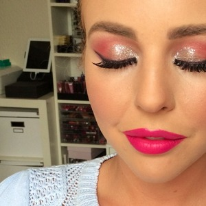 Lydia Bright shows off her Barbie pink make-up, 25 June 2014