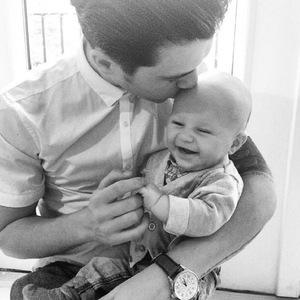 Union J's JJ Hamblett cradles baby son Princeton - 20 April 2014.