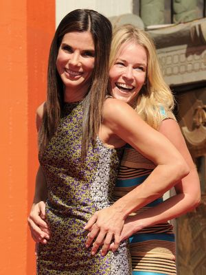 Chelsea Handler and Sandra Bullock Hand and Footprint Ceremony at TCL Chinese Theatre, Los Angeles 09/25/2013