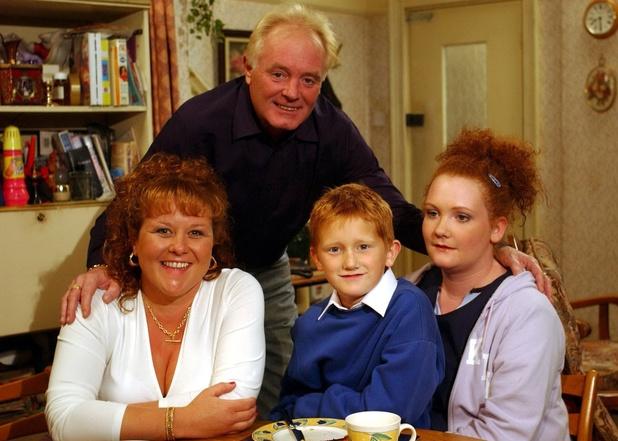 'Coronation Street' TV - 2003 - Cilla Brown [Wendi Peters], Chesney Brown [Sam Aston], Fiz Brown [Jennie Mcalpine] and Les Battersby [Bruce Jones].