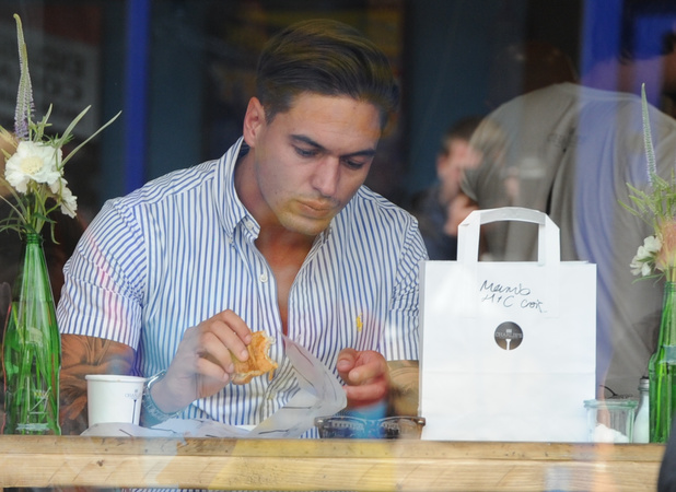 Mario Falcone supports best friend Charlie Sims at launch of new deli, 28 June 2014
