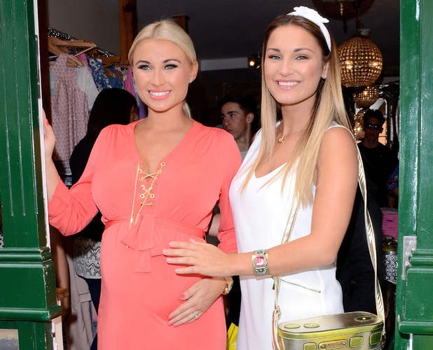 Pregnant TOWIE star Billie Faiers and sister Sam Faiers throw charity tea party at Minnie's Bourtique, 28 June 2014