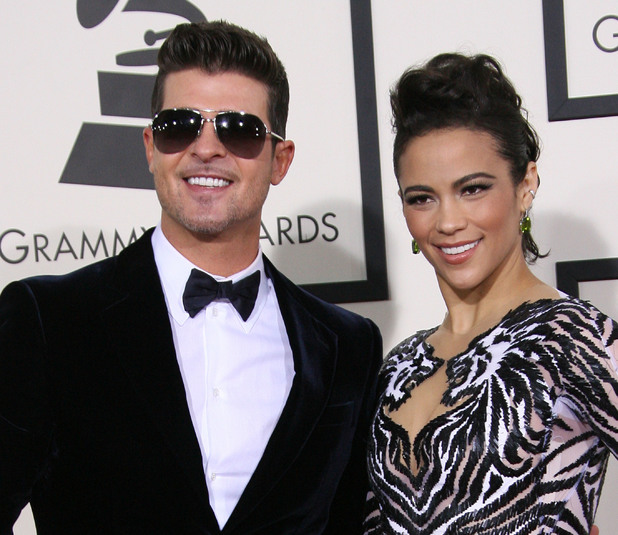 Robin Thicke and Paula Patton at the 56th Annual GRAMMY Awards held at the Staples Center - Arrivals 01/26/2014 Los Angeles, United States