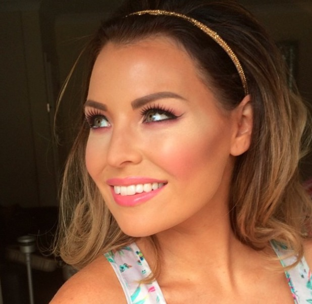 Jessica Wright shows off her Barbie pink make-up, 25 June 2014