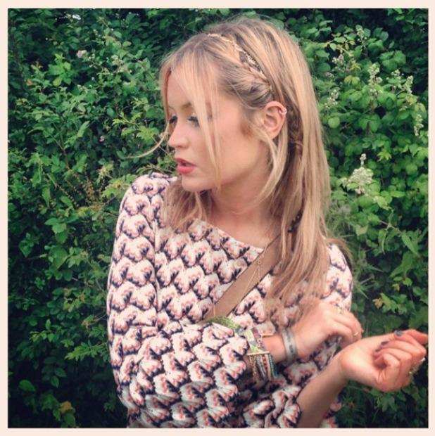 Laura Whitmore shows off her Accessorize headband at Glastonbury festival, 28 June 2014