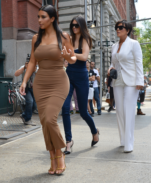 The Kardashians go apartment hunting in Manhatten, New York while filming an episode of their reality show, 27 June 2014