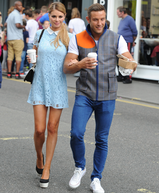 Chloe Sims and Elliott Wright support Charlie Sims at launch of new deli, 28 June 2014