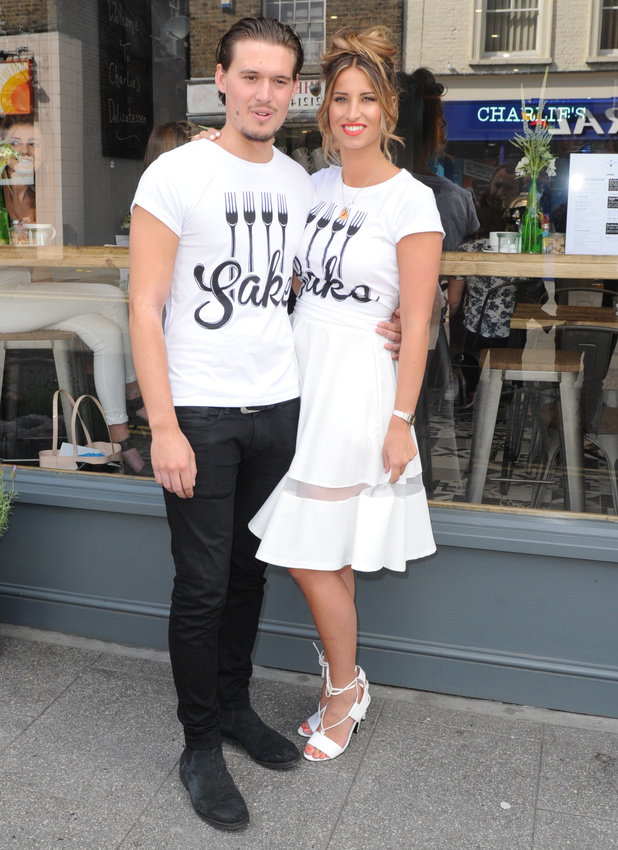 Ferne McCann supports boyfriend Charlie Sims at launch of new deli, 28 June 2014