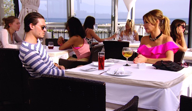 Chloe Sims and Charlie Sims have a conversation on The Only Way Is Marbs, 22 June 2014