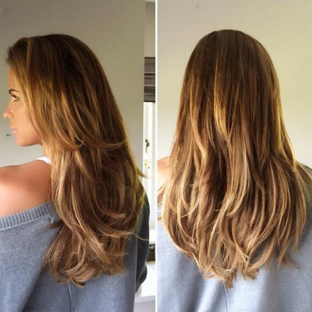 Katie Price shows off new Beauty Works extensions in picture by hairdresser Seaane Chin-Hoyte, June 2014