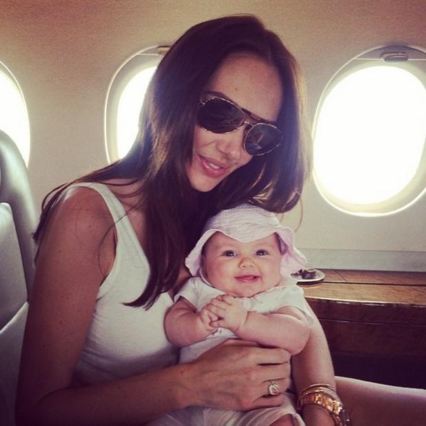 Tamara Ecclestone and baby Sophia on a private jet home from Monaco, June 2014