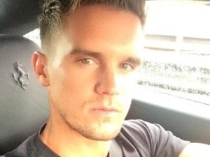 Geordie Shore's Gaz Beadle in his black Ferrari - June 2014