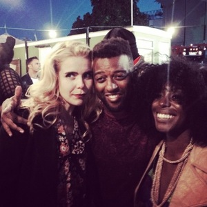 JLS' Oritsé Williams hangs out with Paloma Faith and Laura Mvula at the Calling Festival (29 June).