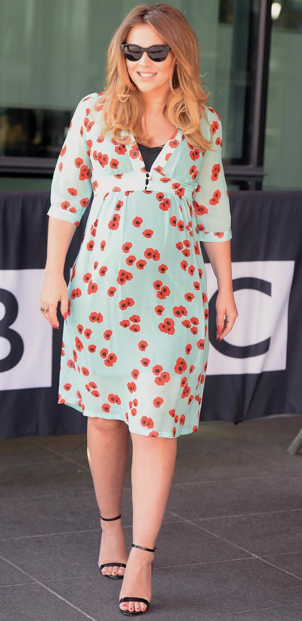 Kimberley Walsh on way to BBC Breakfast Studio's, Media City, Manchester. 30/6/14