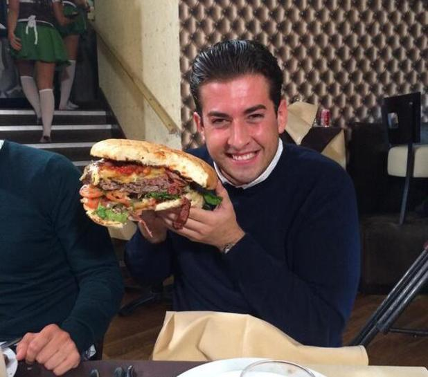 TOWIE's James 'Arg' Argent prepares to tuck into massive burger! (28 June 2014).