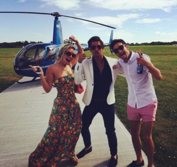 Ollie Locke and Tom Parker head to Henley Regatta on a helicopter, 4.7.14