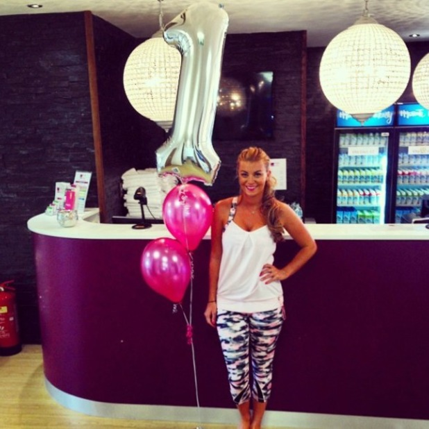 Billi Mucklow and Andy Carroll celebrate her yoga studio's one year anniversary, 30 Jun