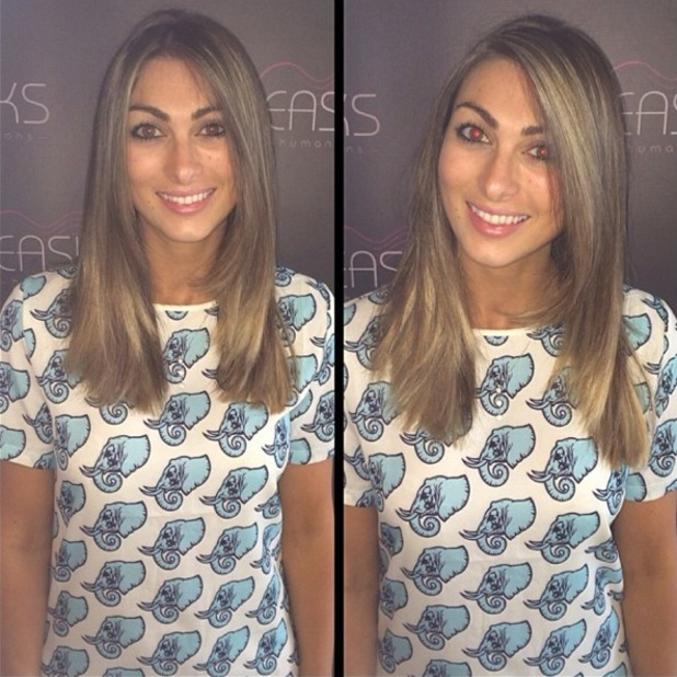 Luisa Zissman shows off new shorter Easilocks hair extensions and blonde highlights - 2 July 2014
