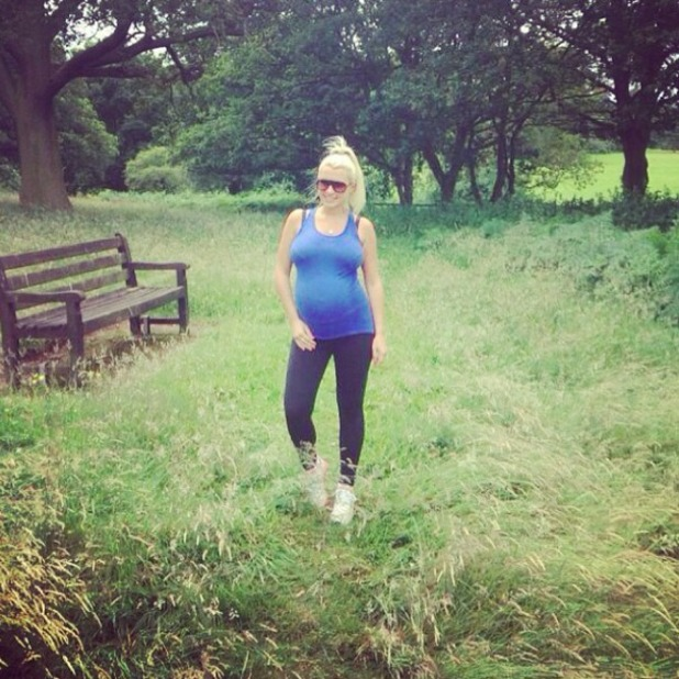 Pregnant TOWIE star Billie Faiers gets walking to induce labour! 5 July 2014