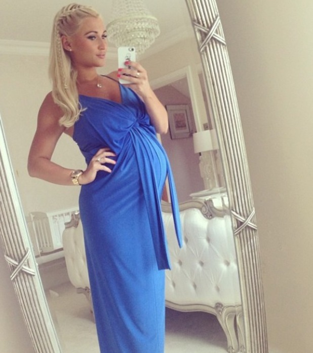 Billie Faiers shows off her baby bump in a blue maxi, 5.7.14