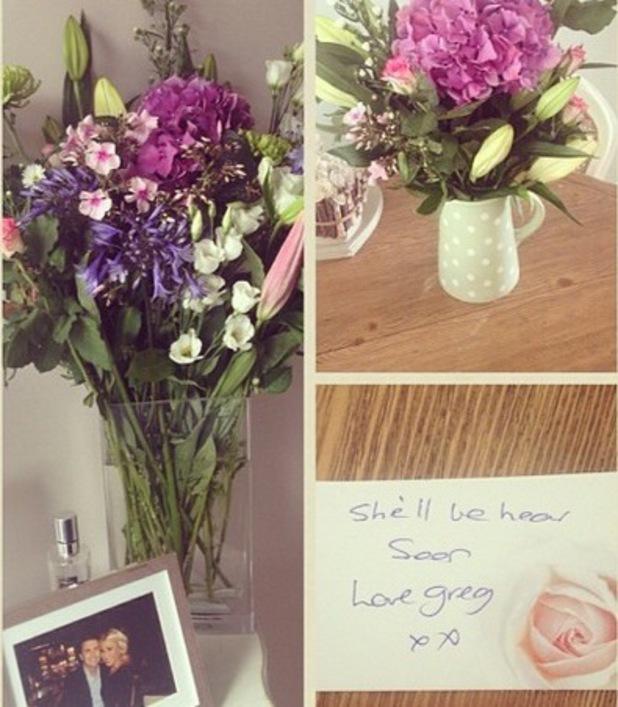 Billie Faiers receives flowers from fiance Greg Shepherd, Instagram, 2 July