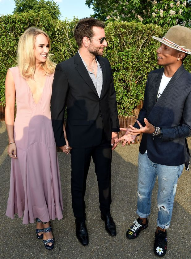 Suki Waterhouse, Bradley Cooper and Pharrell Williams pictured talking at the Serpentine Summer Party, Hyde Park, London, Britain - 01 Jul 2014.