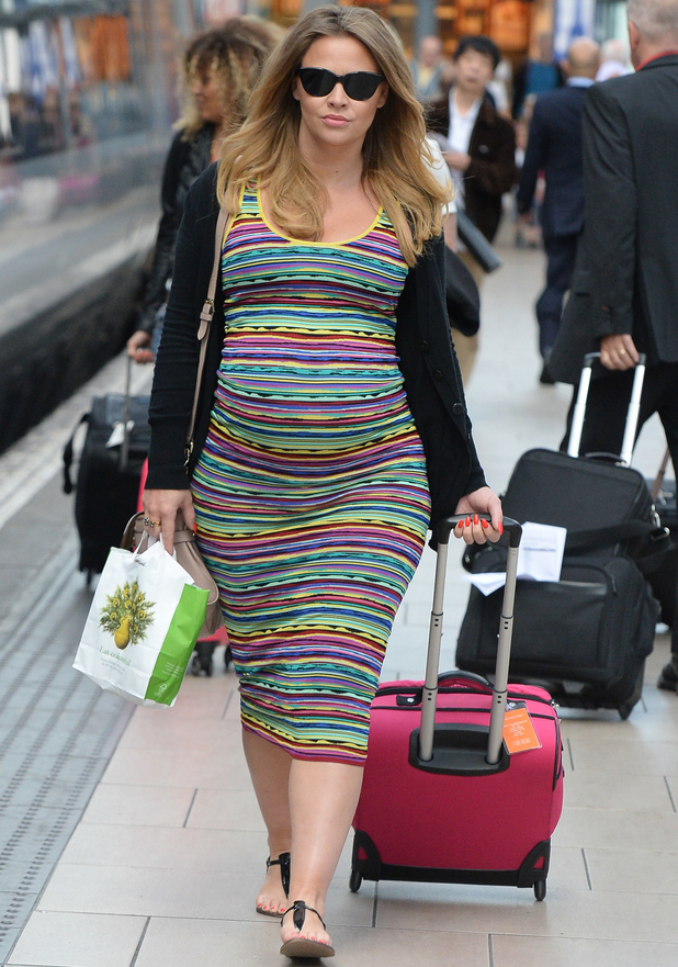 Kimberley Walsh arrives at Manchester Piccadilly train station - 30 June 2014