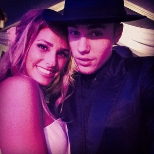 Justin Bieber with Scooter Braun's wife Yael Cohen after their wedding ceremony in Canada (6 July).