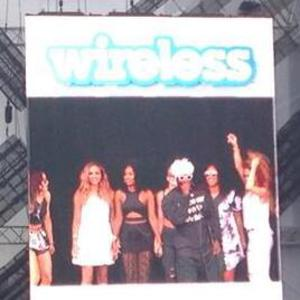 Little Mix join Outkast on stage for 'Hey Ya!' for Day 4 of Wireless Festival in London. 6 July 2014.
