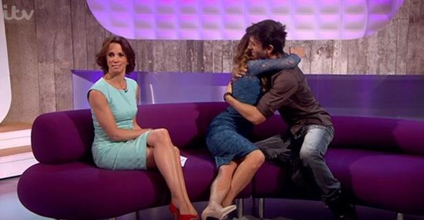 Myleene Klass hugs Enrique Iglesias, Loose Women, ITV, London, 10 July