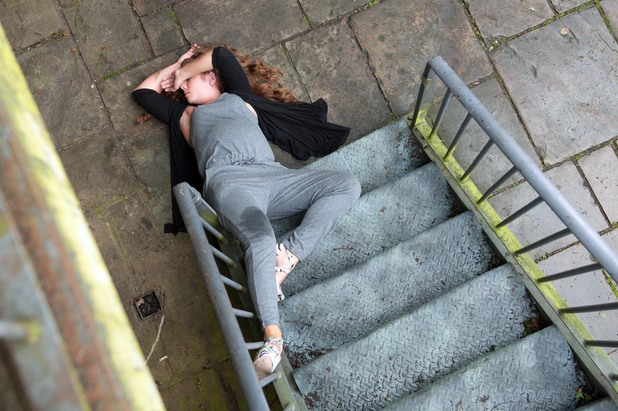 Hollyoaks, Maxine falls down the stairs, Mon 14 Jul