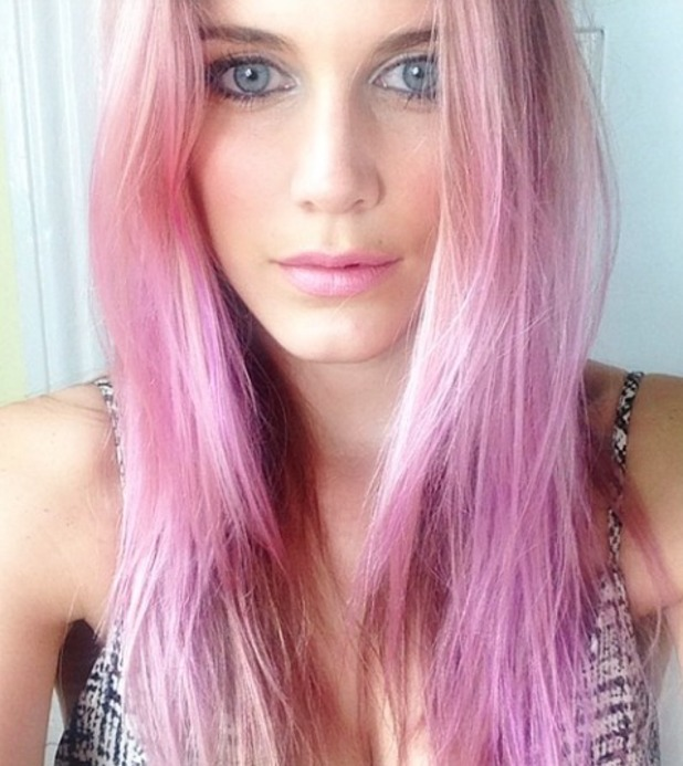 Ashley James dyes hair lilac, 9 July 2014