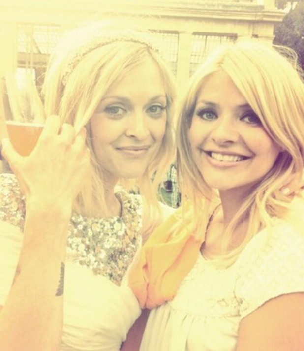 Holly Willoughby and Fearne Cotton at Fearne's wedding to Jesse Wood, London, Twitter, 5 July