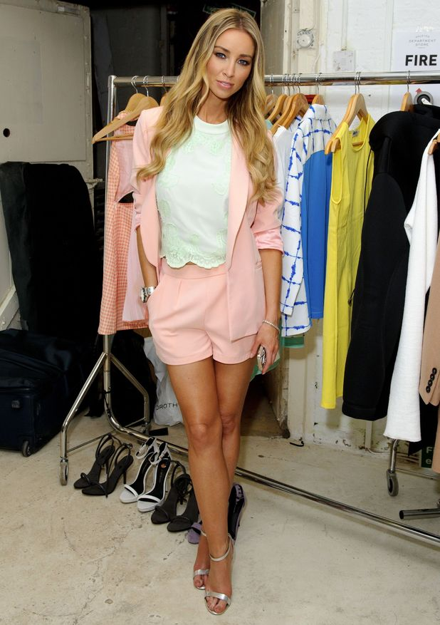 Lauren Pope films TOWIE while wearing a short suit from her own collection - London, England - 9 July 2014
