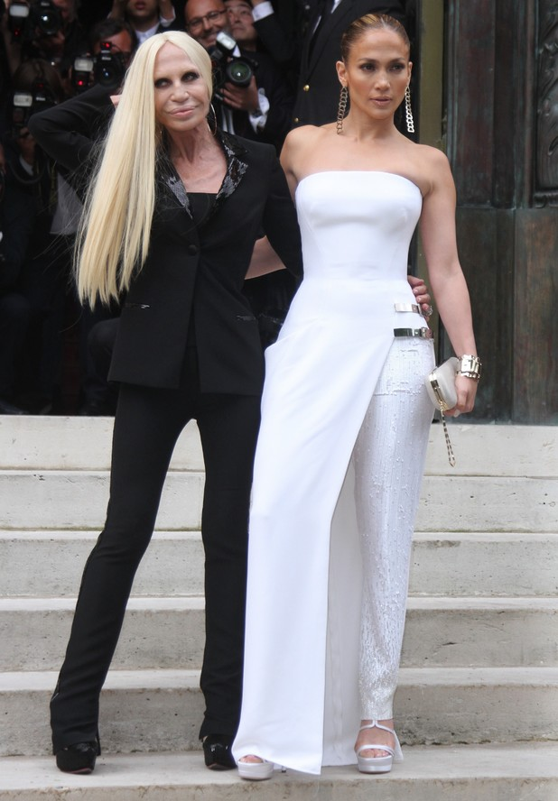 Jennifer Lopez and Donatella Versace at the Atelier Versace Haute Couture Fall Winter '14 show at Paris Fashion Week, France - 6 July 2014
