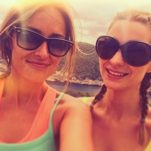 Fran Newman-Young and sister Olivia Newman-Young in Ibiza, 14 July