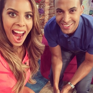 Rochelle and Marvin's pre-show selfie, This Morning, ITV, London, 18 July