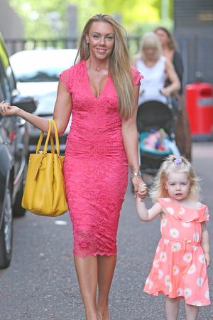 Michelle Heaton and daughter Faith outside the ITV studios, London, 17 July