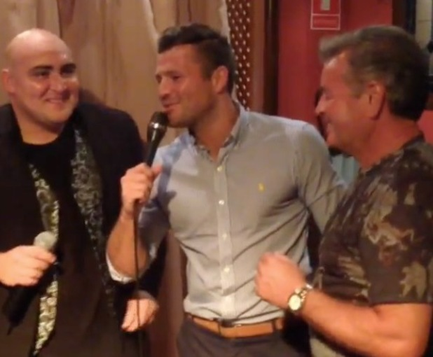 Mark Wright sings on the karaoke machine at Leah Wright's pre-wedding celebrations (16 July).