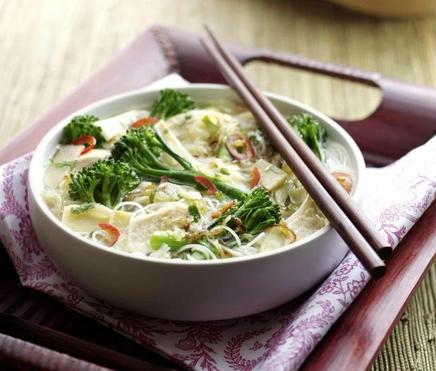 Tenderstem and chicken Vietnamese noodle soup
