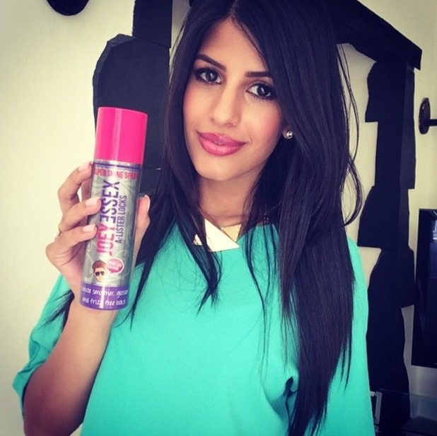 TOWIE's Jasmin Walia holds a can of Joey Essex's Super Shine Hairspray in an Instagram picture - 15 July 2014