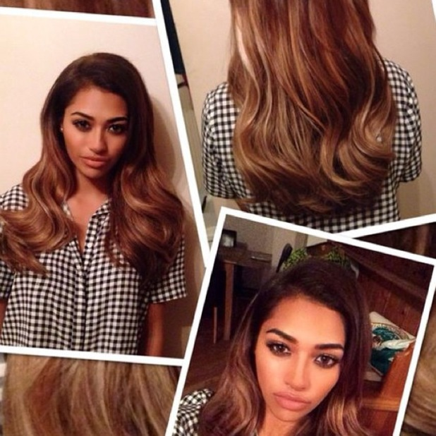 The Saturdays' Vanessa White shows off new caramel blonde hair extensions - 14 July 2014